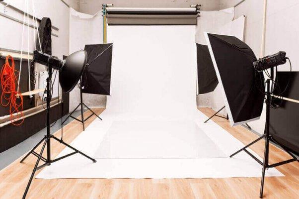 Equipamento de iluminação para estúdio de 35 m²